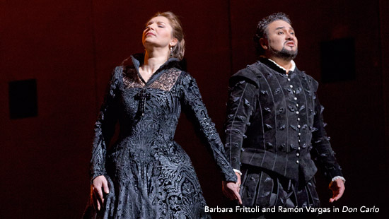 Verdi's masterpiece of the Spanish Inquisition features a superb ensemble cast, including Ramón Vargas, Barbara Frittoli, Dmitri Hvorostovsky, and Ferruccio Furlanetto. Lorin Maazel conducts Nicholas Hytner's stunning hit production.