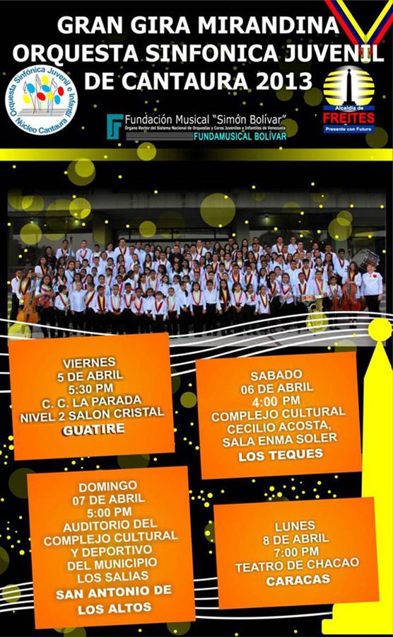 """Gran Gira Mirandina """"Orquesta Sinfónica Juvenil de Cantaura 2013"""""""