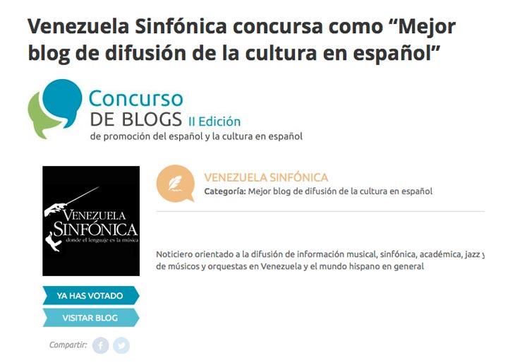 """Venezuela Sinfónica concursa como """"Mejor Blog de difusión de la cultura en español"""""""