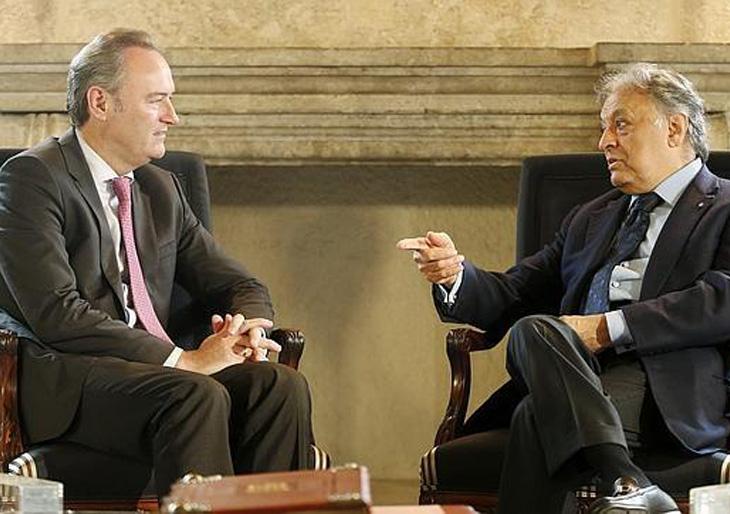 Alberto Fabra y Zubin Mehta, durante la reunión de este lunes