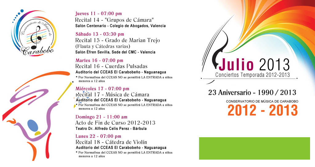 Julio de Recitales y Conciertos en el Conservatorio de Música de Carabobo