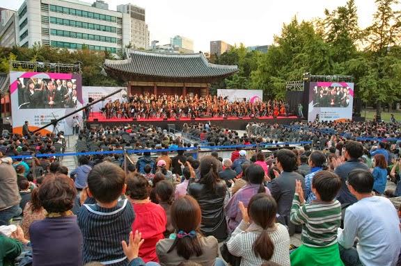 Entre dos pagodas coreanas del Palacio Imperial Duksugung, Kyung Bok Gung, la Sinfónica Juvenil de Caracas -unida a la Orquesta de Los Sueños- presentó su último concierto de esta Gira Asia 2013