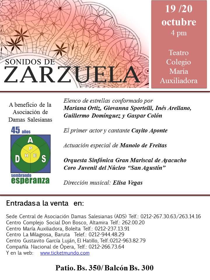 """""""Sonidos de Zarzuela"""" a beneficio de la Asociación Damas Salesianas"""