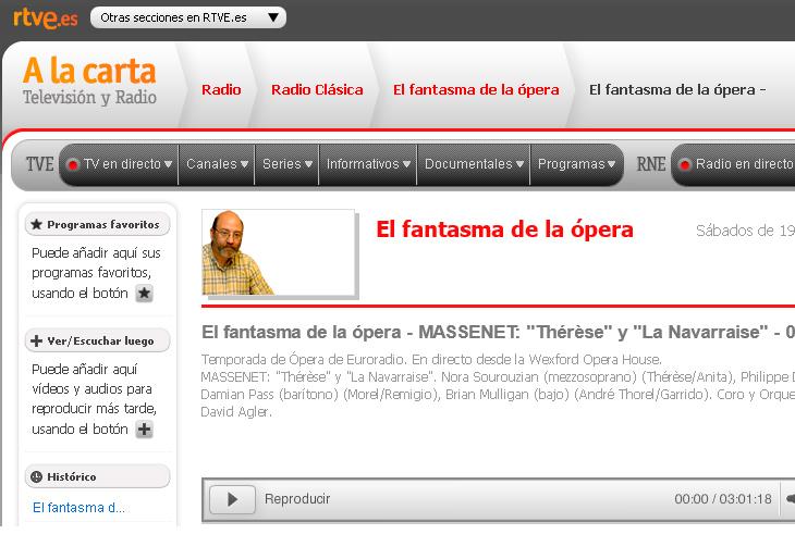 """Disfrute del audio de MASSENET: """"Thérèse"""" y """"La Navarraise"""" conducido por Carlos Izcaray"""