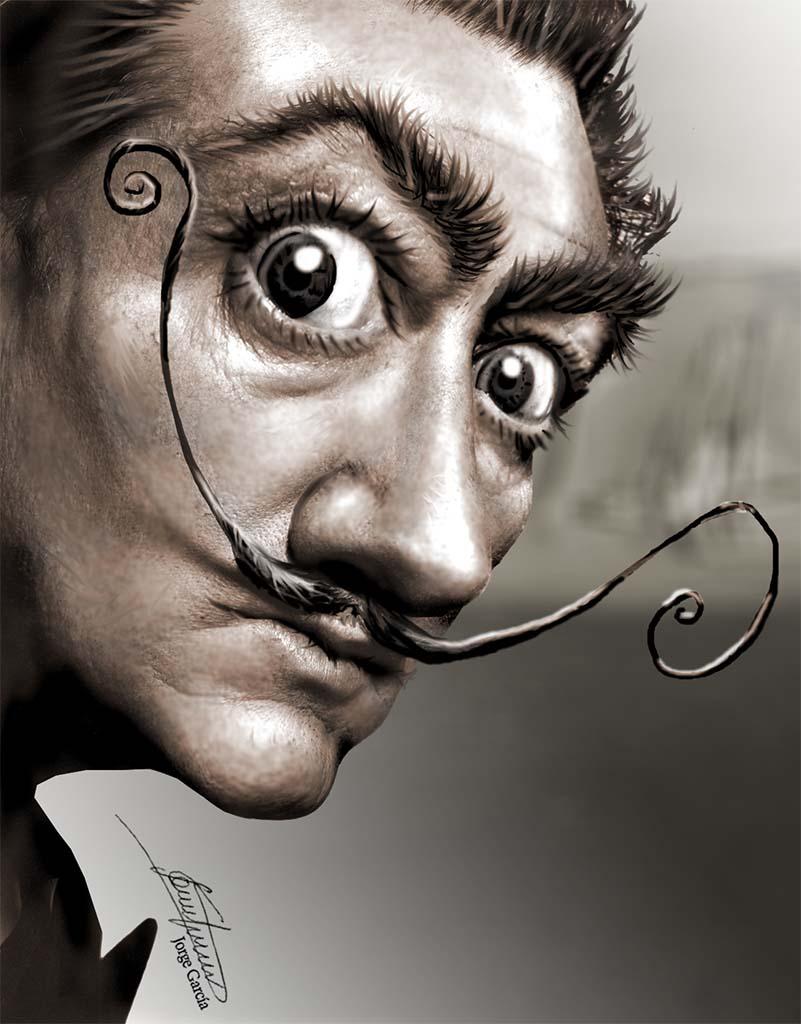 Salvador Dalí caricatura digital Salvador Dali - L.D.G. Jorge García (Explosión Sandía) - Ilustración