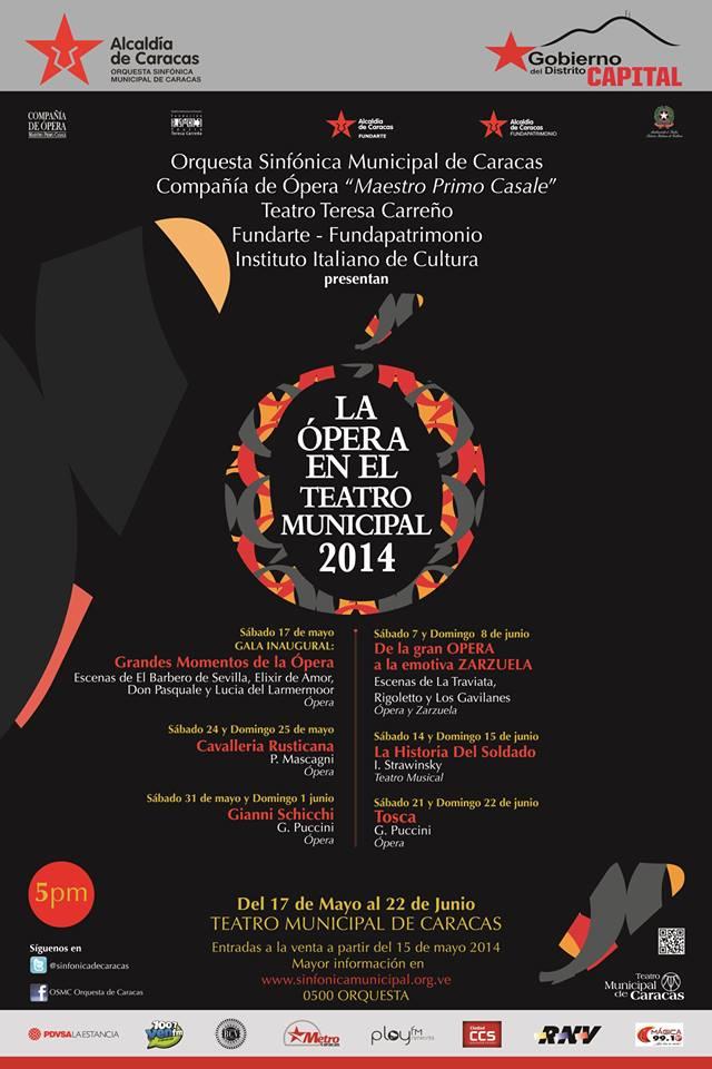 temporada de ópera a realizarse del 17 de mayo al 22 de junio en el Teatro Municipal.