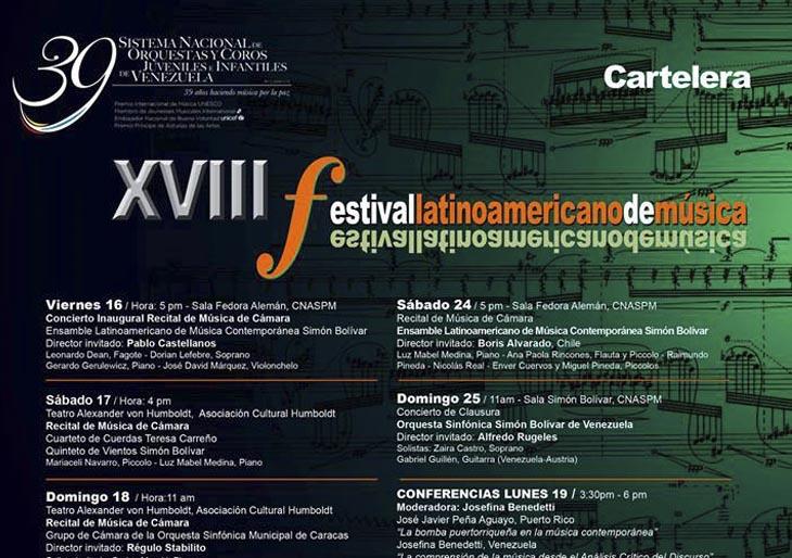 Conferencias y Clases magistrales que se llevarán a cabo durante el XVIII Festival Latinoamericano de Música