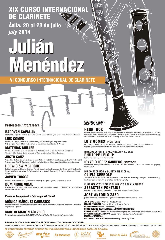 """XIX Curso Internacional de Clarinete """"Julián Menéndez"""" en España"""