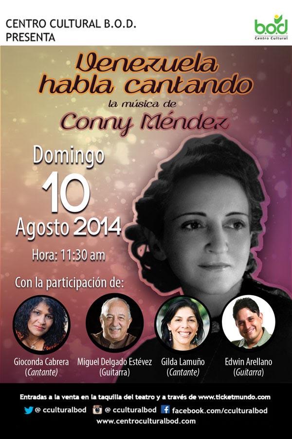 A petición del público, vuelve el homenaje a Conny Méndez con Venezuela habla cantando