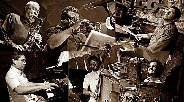 De izquierda a derecha y de arriba abajo: Paquito D'Rivera, Manuel Machado, Georvis Pico, Pepe Rivero, Reiner Elizarde «el Negrón» y Yuvisney Aguilar. © Antonio Narváez