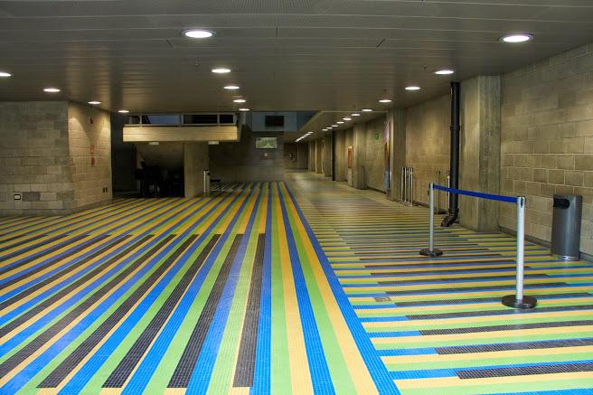 La presencia cromática en el Cnaspm cuenta también con una intervención en los pisos de la entrada del maestro Carlos Cruz-Diez: un Río cromático compuesto de verde, ocre, azul y negro
