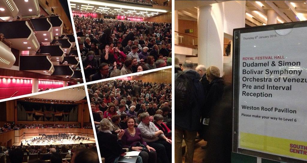 A sala llena, el público del #RoyalFestivalHall agradeció con aplausos el 1er concierto de la Bolívar