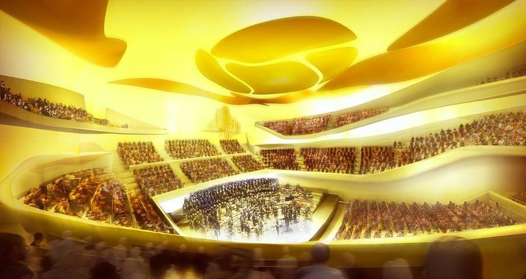 Gustavo Dudamel y la Orquesta Sinfónica Simón Bolívar de Venezuela en el nuevo edificio de la Filarmónica de París.