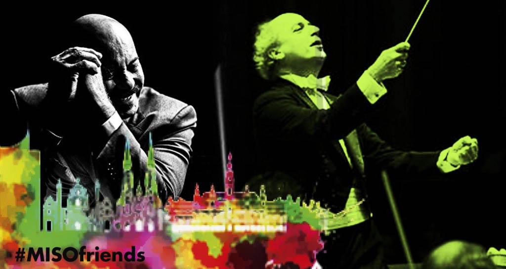 Oscar D' León e Ismael Cala juntos al director Eduardo Marturet en concierto