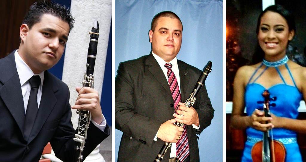 Mary Eli Palencia, Gustavo Rodríguez y Coni Colina junto a la Sinfónica de Falcón