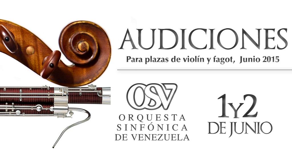 La Sinfónica de Venezuela convoca a Audiciones para violín y fagot