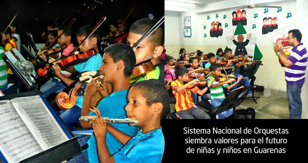 Sistema Nacional de Orquestas siembra valores para el futuro de niñas y niños en Guarenas
