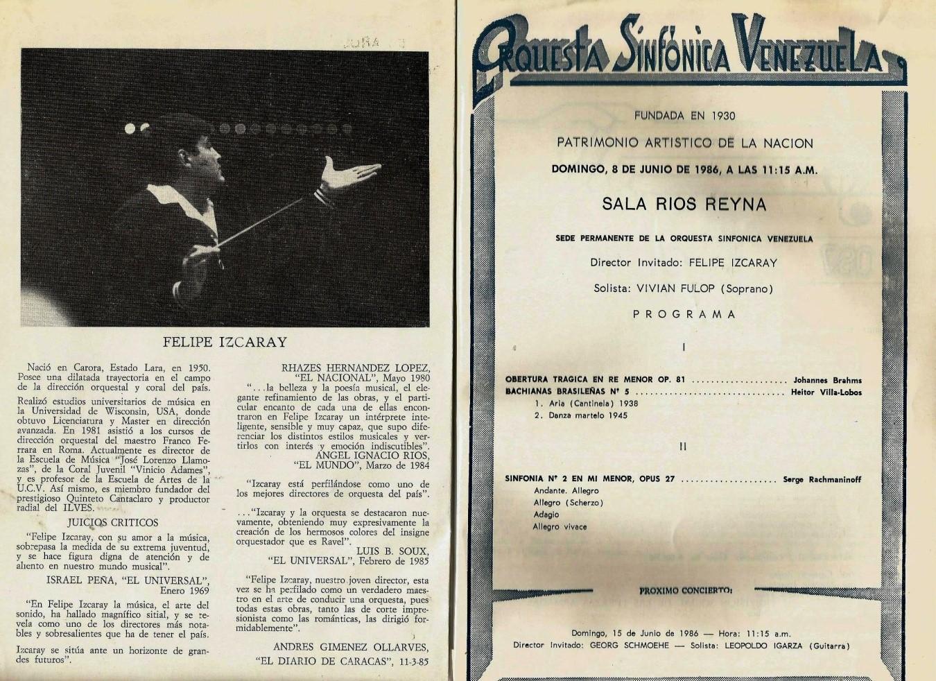 Programa de mano del 8 de Junio de 1986