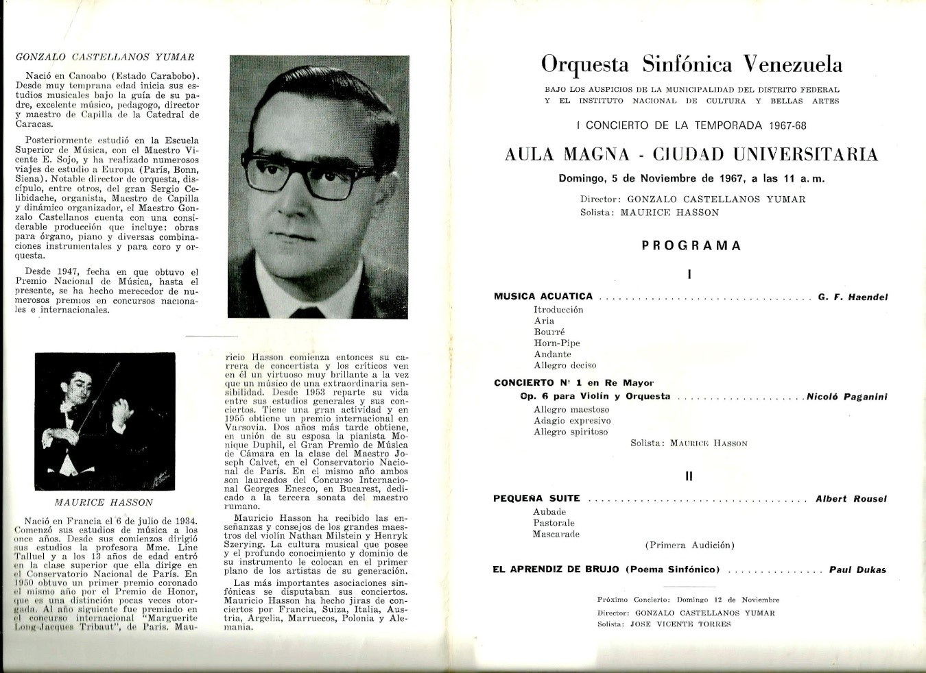 Programa del 5 de Noviembre de 1967.