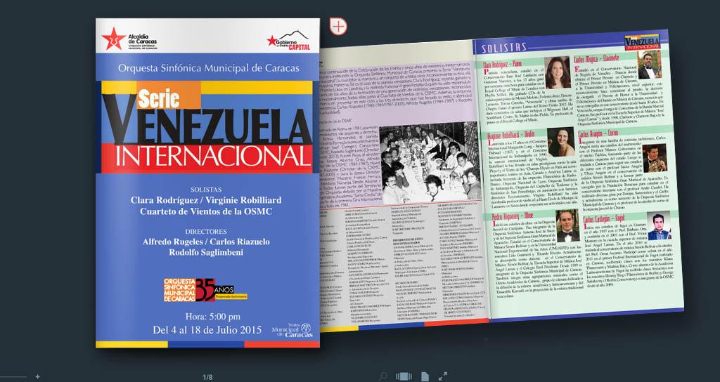 """Descargue el programa de mano del concierto """"Venezuela Internacional"""" OSMC"""