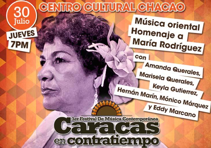 María Rodríguez será homenajeada en el Teatro Chacao