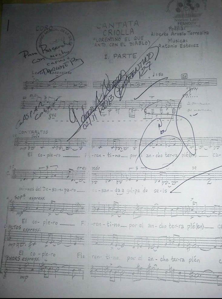 Esta joya con las firmas de los maestros Gustavo Dudamel, Idwer Álvarez, Gaspar Colón y Tarsisio Barreto. Autógrafo otorgado a Ricardo Castillo
