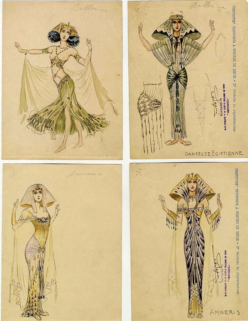 3 Caramba figurini per Aida 1911