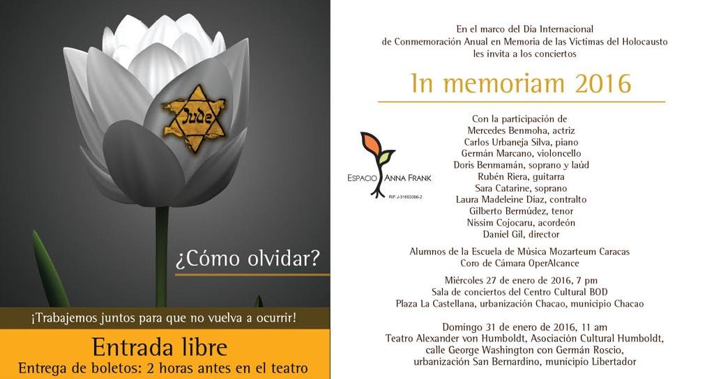 In memoriam 2016:Música para recordar las víctimas del Holocausto