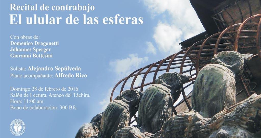 El contrabajista Alejandro Sepúlveda ofrece recital en el Ateneo del Táchira