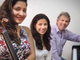 María Alejandra Limardo y Ricardo Gómez (pianistas) y Elvia Giraldo (violoncello)