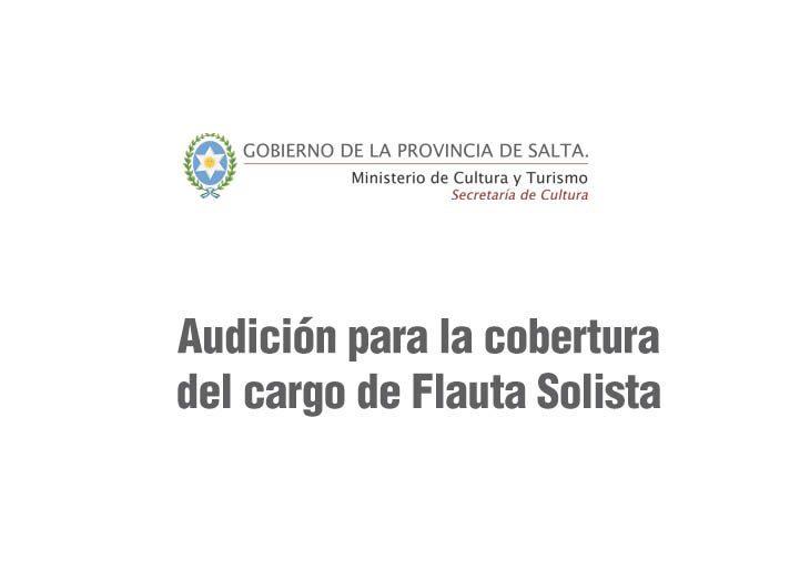 La Sinfónica de Salta convoca a audiciones para el cargo de Flauta Solista