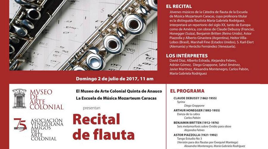 Jóvenes músicos de la Cátedra de Flauta ofrecen recital en la Quinta de Anauco