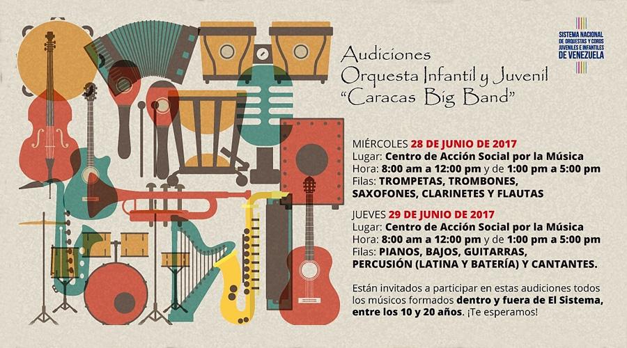 "Se convocan Audiciones para la Orquesta Infantil y Juvenil ""Caracas Big Band"""