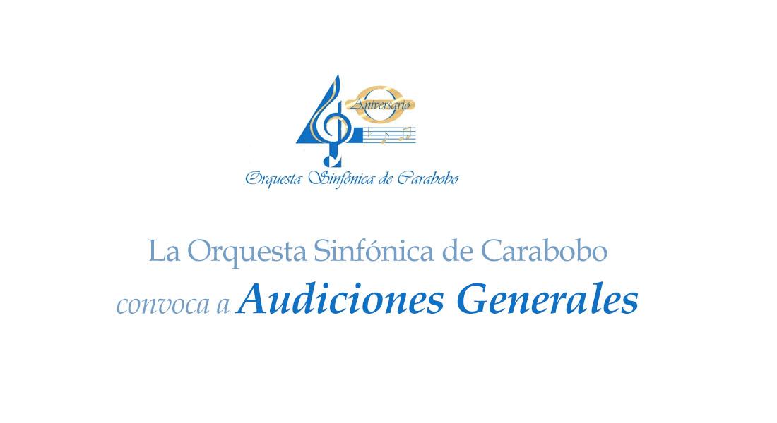 La Orquesta Sinfónica de Carabobo convoca a Audiciones Generales