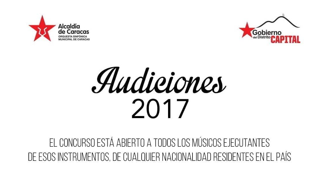 La Orquesta Sinfónica Municipal de Caracas convoca a Audiciones