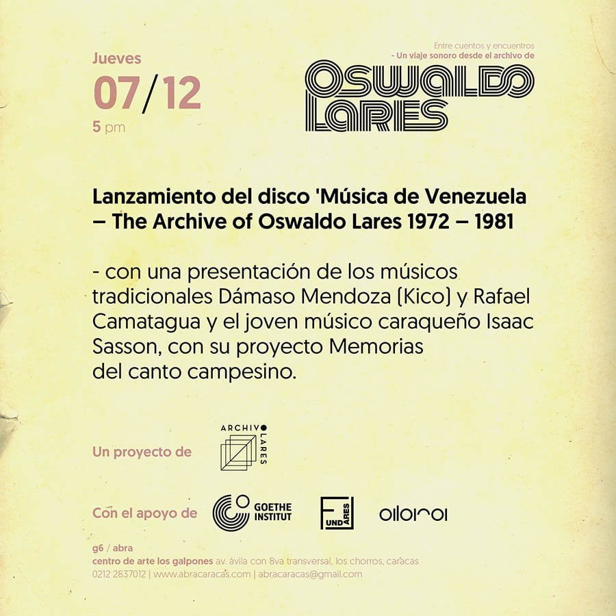 El archivo musical de Oswaldo Lares se hace nuevamente disco