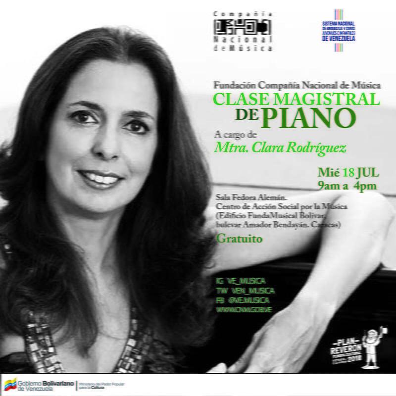 Clara Rodríguez realizará clase magistral de piano y recital en Venezuela