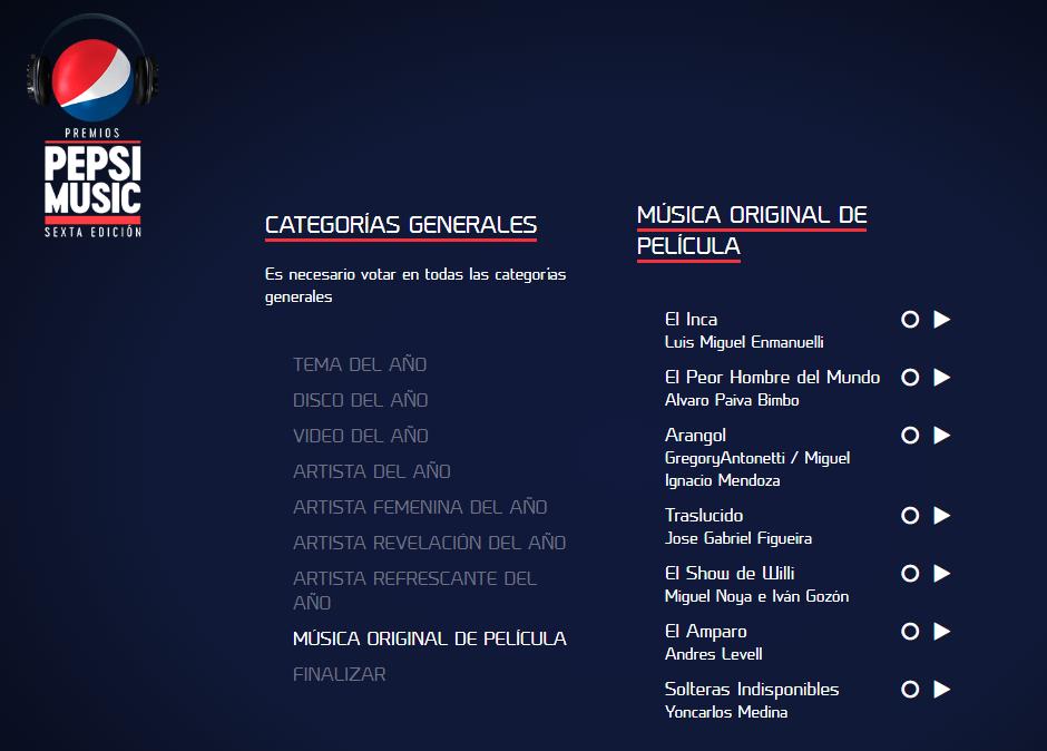 ¡A votar para los Premios Pepsi 2018!
