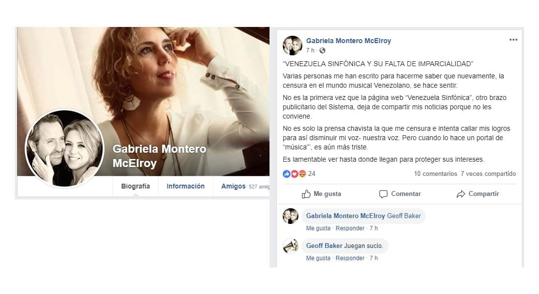 Gabriela Montero acusa a nuestro portal de censurar e intentar callar sus logros