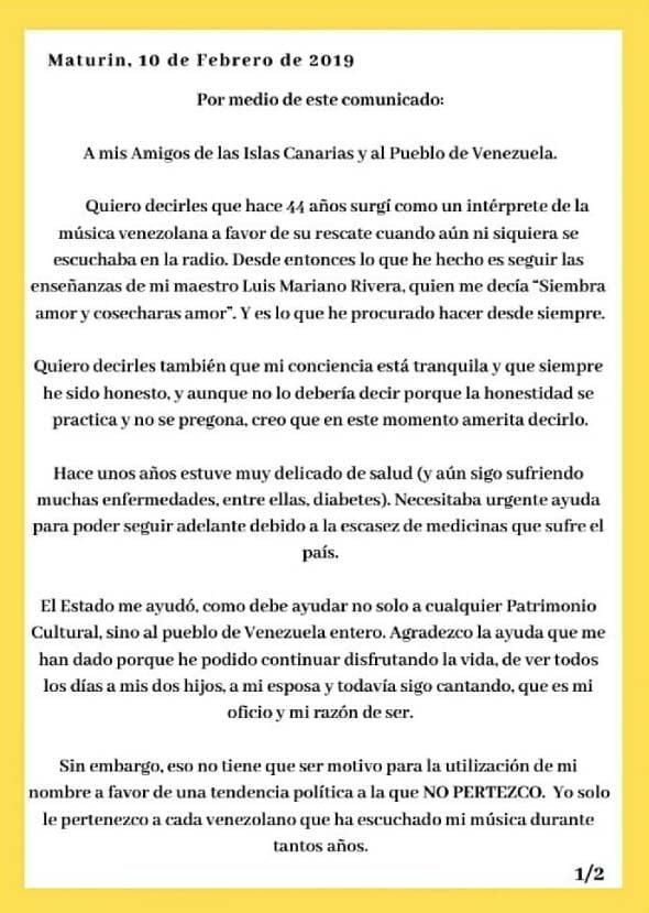 """Gualberto Ibarreto """"Pido que se le dé paso a la ayuda humanitaria que se está ofreciendo"""""""