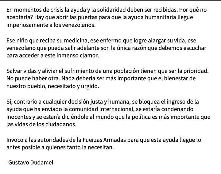 Gustavo Dudamel pide abrir las puertas para la ayuda humanitaria