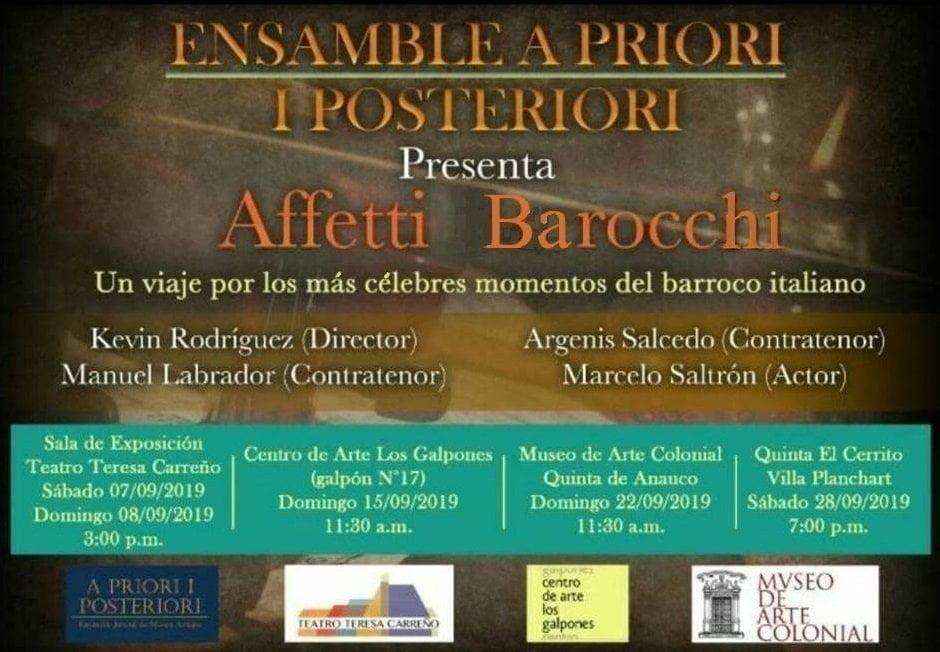 """El Ensamble de música antigua A Priori y Posteriori presenta """"Affetti Barocchi"""""""